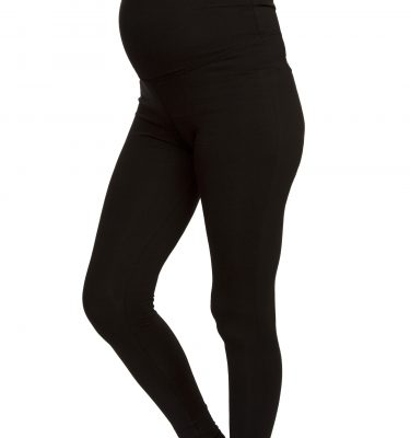 Leggings-sportivi-premaman-fitta-mamma-neri-fascia-supporto